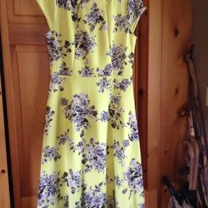 Bright yellow with Gray flowers dress